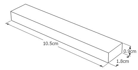 7.4v 1000mAh 15C LiPo Stick Battery Dimsensions